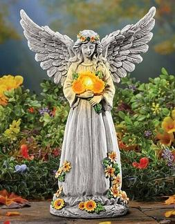 Angel Wings Memorial Statue Solar Lighted Yard Decor Outdoor