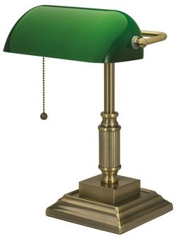 Antique Bronze Desk Lamp Green Glass Shade Traditional Home