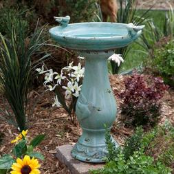 Antique Ceramic Bird Bath Pedestal Vintage Garden Yard Decor