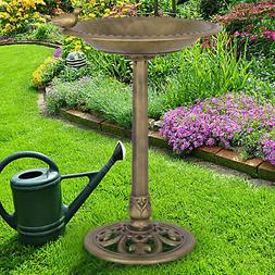Antique Gold Freestanding Pedestal Bird Bath Feeder Outdoor