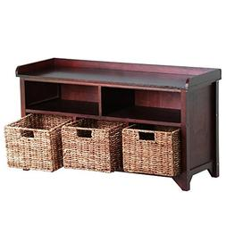 Topeakmart Antique Wood Shoe Storage Rack with Rattan Basket