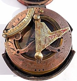 Maritime Antiques Nautical Brass Box Sundial Compass -Drum S