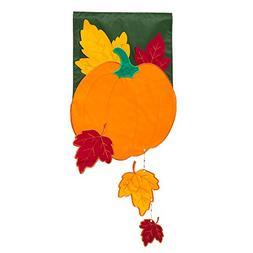 Evergreen Applique Fall Pumpkin with Falling Leaves Garden F