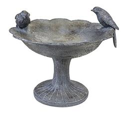 Sagebrook Home AR10430-01 Birdbath W/Two Birds, Gray Polyres