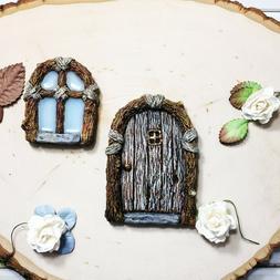 Arch Fairy Garden Gnome Door and Window Set Tree Yard Decor