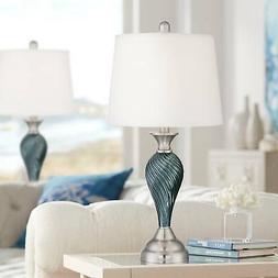 Arden Greenish Blue Glass Twist Column Table Lamp Set of 2