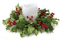"""10"""" Artificial Christmas Holly and Red Berry Pillar Candle R"""