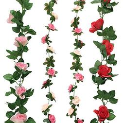 Cocodeko 4 Pack Artificial Fake Rose Silk Flower with Green