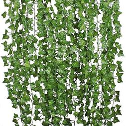 DearHouse I01732 84 Ft-12 Pack Artificial Ivy Leaf Plants Vi