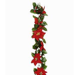 FloristryWarehouse Artificial Poinsettia Chainlink Garland R