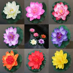 Artificial Water lily Floating Flower Lotus Home Yard Pond F