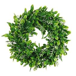 Adeeing Round Wreath Artificial Wreath Green Leaves for Door