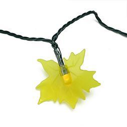 Set of 10 B/O Yellow Maple Leaf Autumn Fall LED Novelty Than