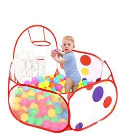 FunKids Baby Kids Polka Dot Basketball Hoop Play Tent Ocean
