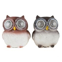 Baby Owl Solar Lights Set of 2 Yard Decor Garden Window Sill