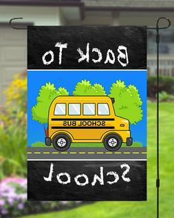 Back To School Garden Banner Flag 12x18 Yard Decor Bus Chalk