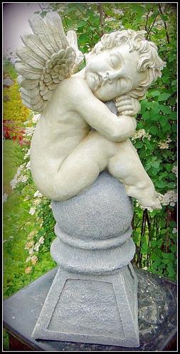 "Balancing a Dream Cherub Statue Sleeping Baby Religious 22"""