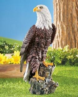 Bald Eagle Bird on Tree Stump Garden Statue Lawn Yard Home D