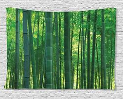 Bamboo House Decor Tapestry by Ambesonne, Asian Oriental Exo