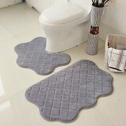 SKCQ 2 Piece Bathroom Rugs Set No Slip Pedestal Mat Memory F