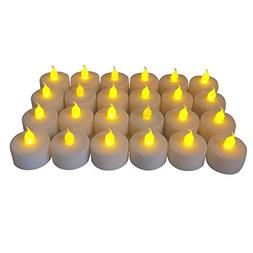 Battery-powered Flameless LED Tealight Candles, Pack of 24