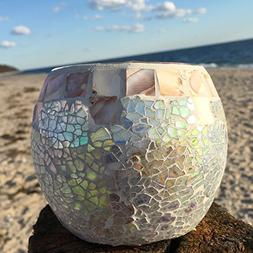 The Beach Chic Mother of Pearl Mosaic Candle Holder for Teal