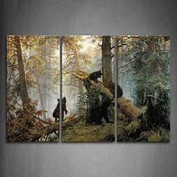 Bears Play In Forest Broken Tree Wall Art Painting The Pictu