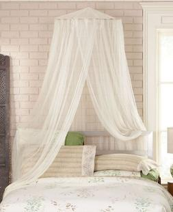 Bed Canopy Curtains Set of 8 Tab-Top Panels & 4 Tie-Backs