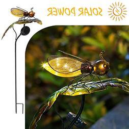 Bee on the Leaf-HAPJOY Garden Solar Lights Outdoor,Metal Sol