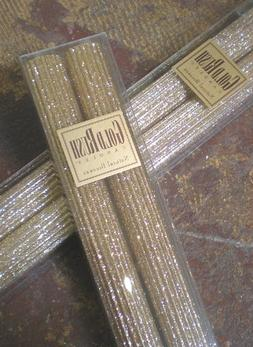 8 Inch Natural Beeswax Glitter Candles, Fools Gold Color, Bo