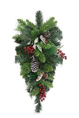 """32"""" Pre-Decorated Frosted Pine Cone and Red Berry Artificial"""