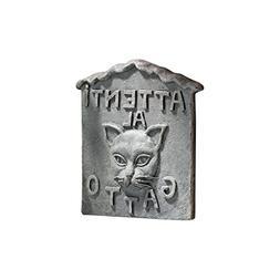 """Design Toscano Beware of Cat Italian """"Attenti al Gatto"""" Gard"""