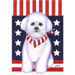 Bichon Frise Patriotic Breed Garden Flag