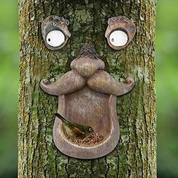 Bird Feeder Tree Face Decor Outdoor, Fun Old Man Tree Sculpt