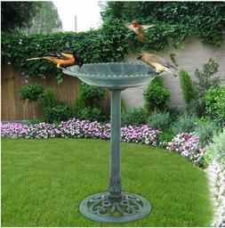 "Birdbath 28"" Height Pedestal Bird Bath Outdoor Garden Decor"