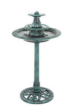 ZENY Birdbath Pedestal Bird Bath Outdoor Garden Decor Vintag