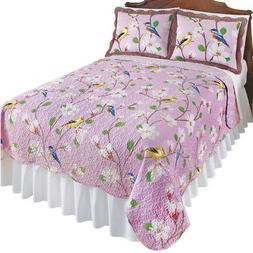 Birds & Magnolia Floral Garden Reversible Lavender Quilt, by