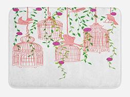 Birds Bath Mat by Lunarable, Rose Garden with Flying Birds a