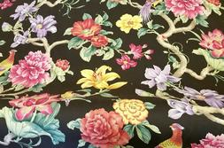 Birds by Flowers by the yard home decor sewing fabric multic