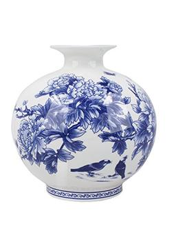 birds peony bush blue white