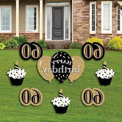 Adult 60th Birthday - Gold - Yard Sign & Outdoor Lawn Decora