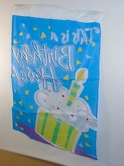 "Birthday House Party Flag ~ 28"" x 40"" Nylon Banner For Yard,"
