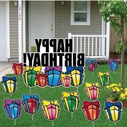 Birthday Yard Cards - Happy Birthday Greetings w/Presents -