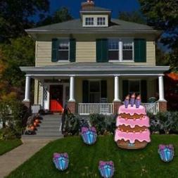 Birthday Yard Cards - Large Birthday Cake and Presents Yard