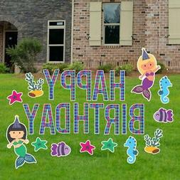 Birthday Yard Letters - Mermaid Yard Decoration with Faux Gl