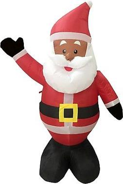 Black African American Santa Claus 4' Inflatable Airblown Ch