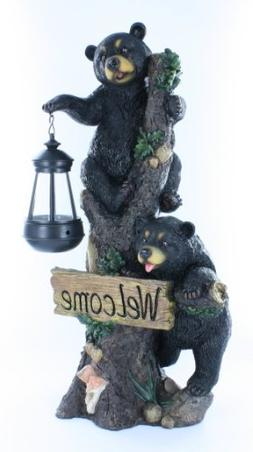 Large Black Bears Welcome Sign / Statue with Solar LED Lante