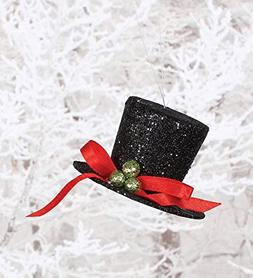 Black Glitter and Holly Berry Top Hat 2 inch Christmas Ornam