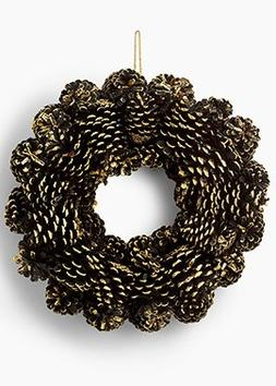 Black and Gold Pine Cone Wreath