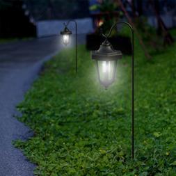 Pure Garden Black Set of 2 Solar LED Hanging Coach Lanterns